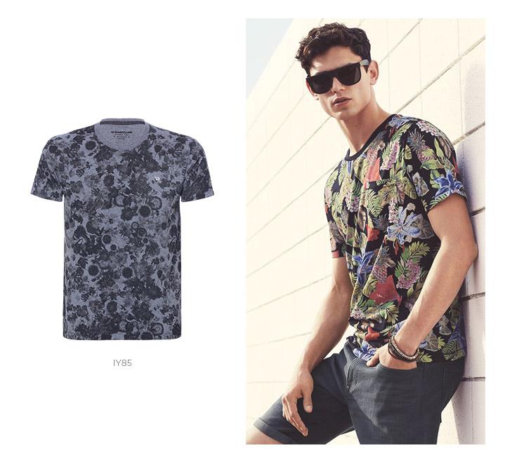 camiseta floral masculina com bermuda