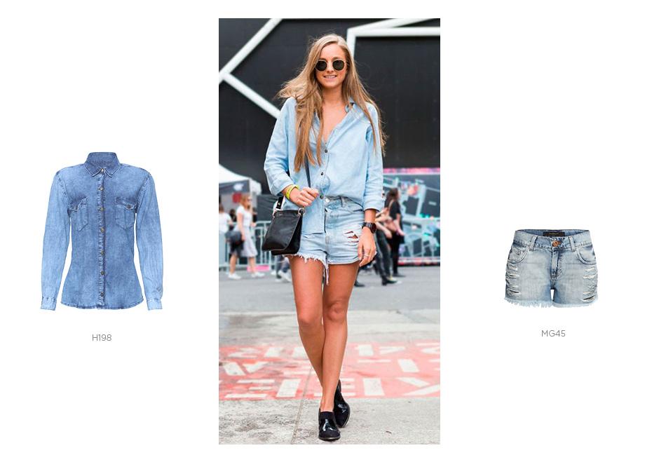 total jeans com short jeans e camisa jeans