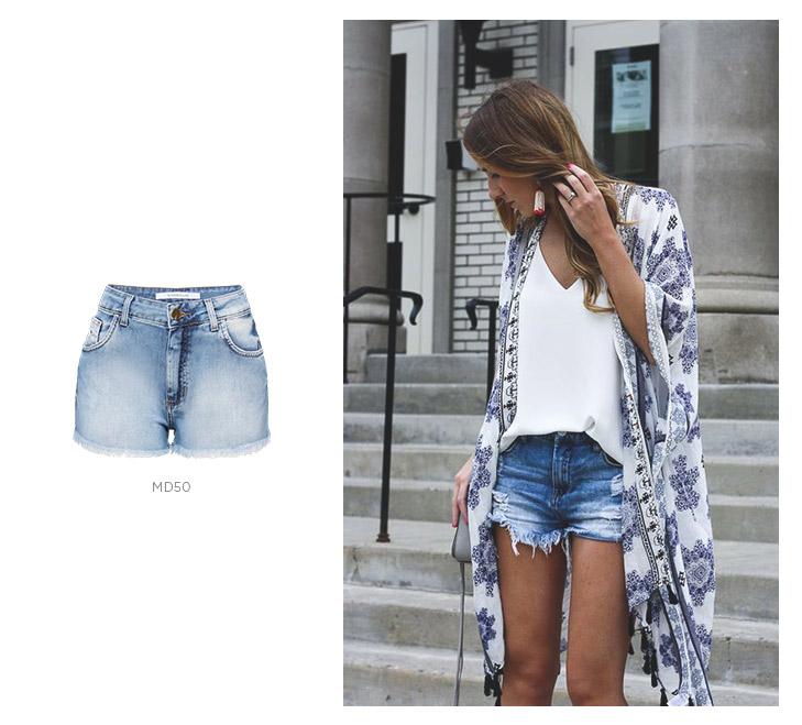 short jeans com quimono