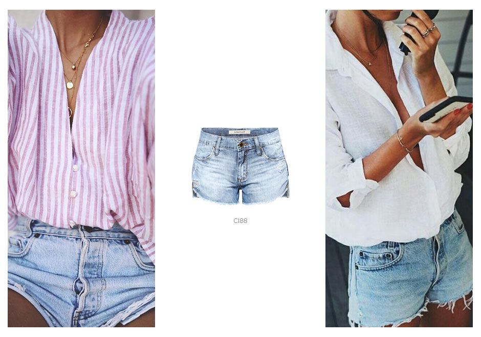 short jeans e camisa
