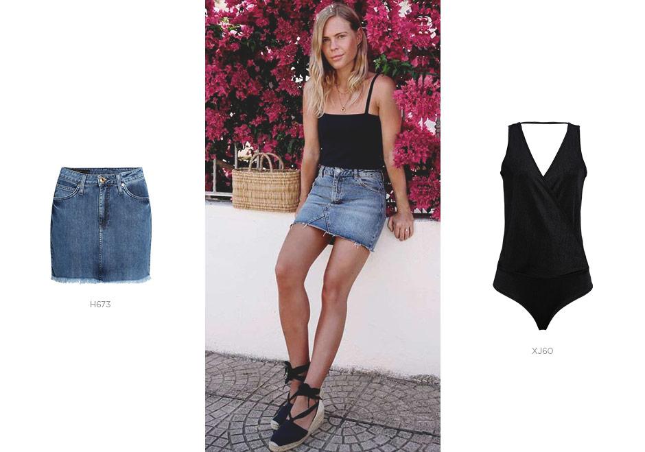 body com saia jeans