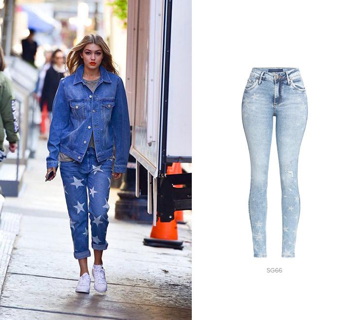 gigi hadid com jeans estrelado