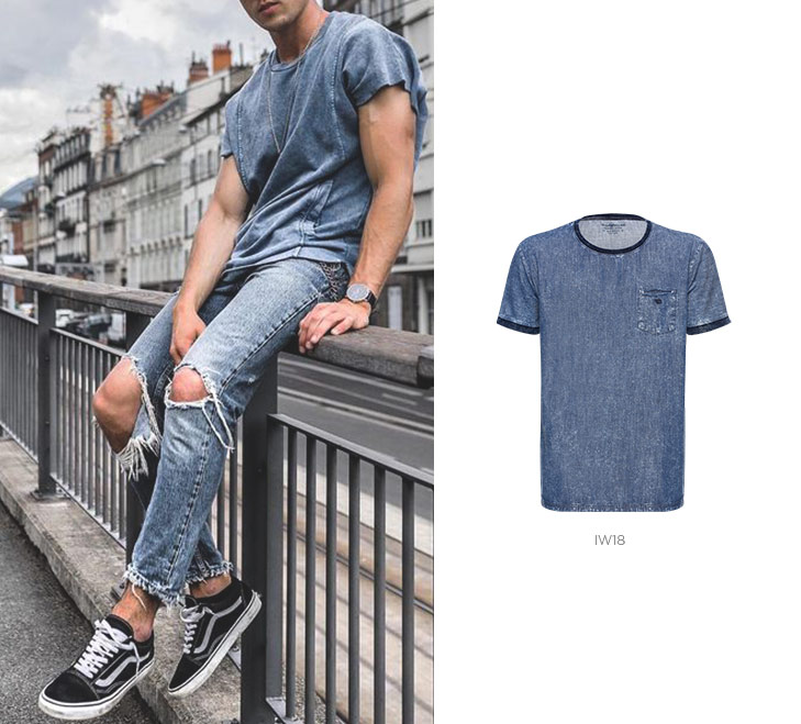 camiseta jeans masculina