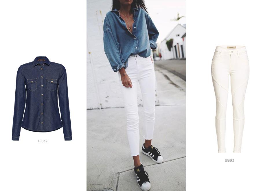 jeans branco com camisa jeans