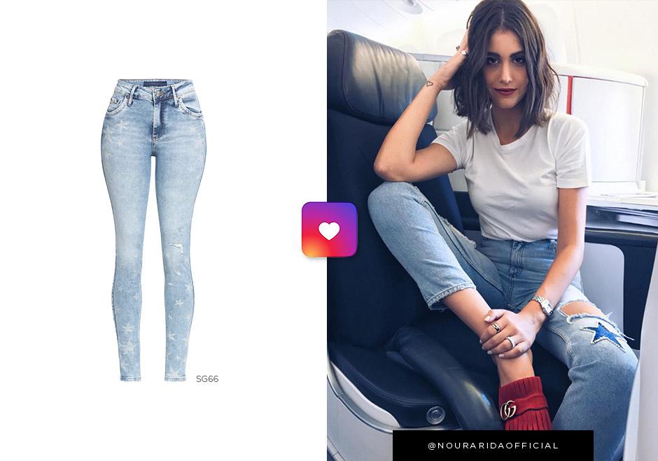 nour arida usando jeans com estrelas