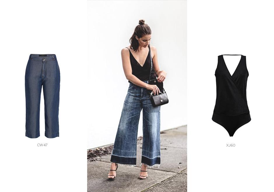 pantacourt jeans com body