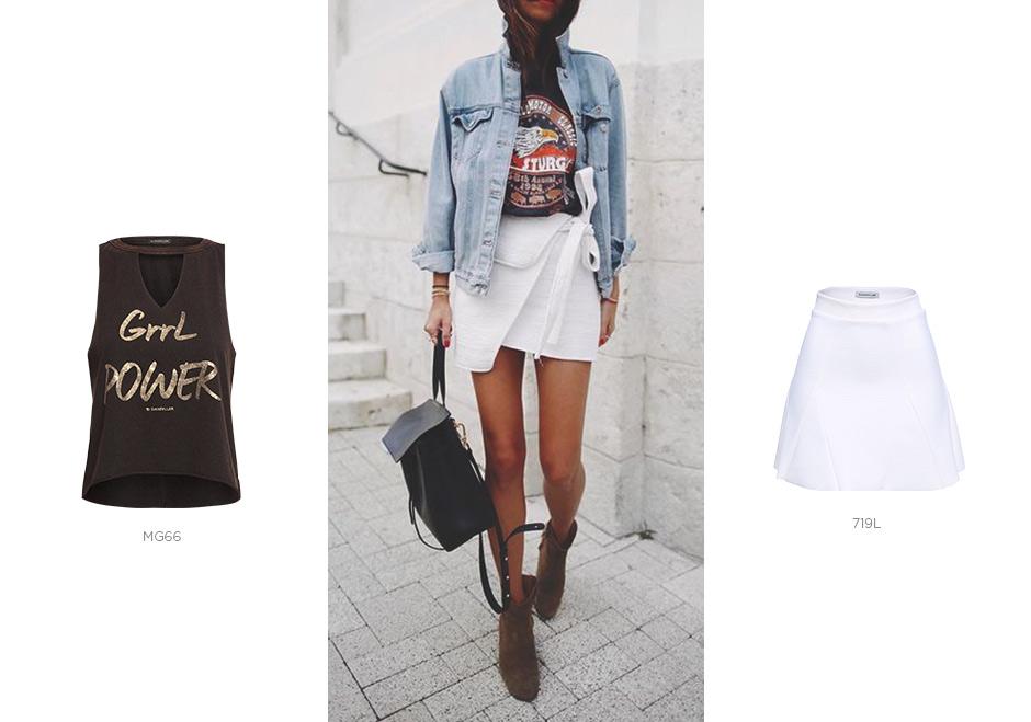 saia branca com camiseta tipografica