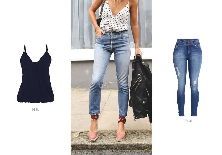 jeans com top de alcinha