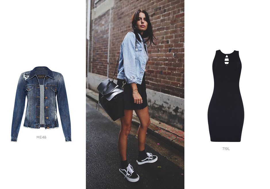 vestido preto e jaqueta jeans