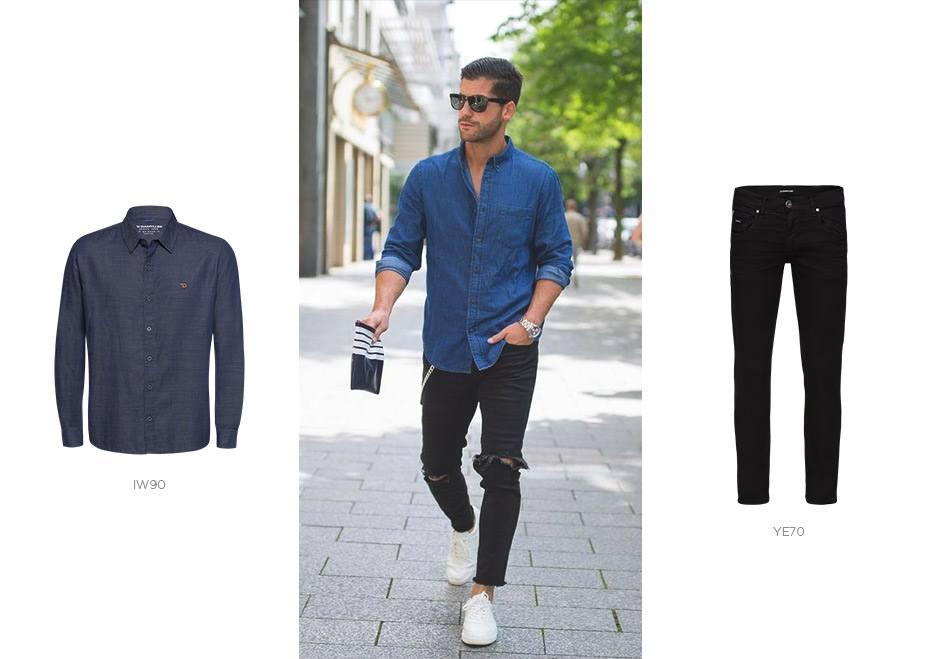 camisa jeans e calça jeans