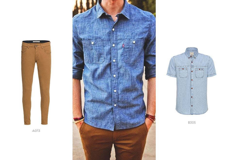 camisa jeans manga curta e calça colorida