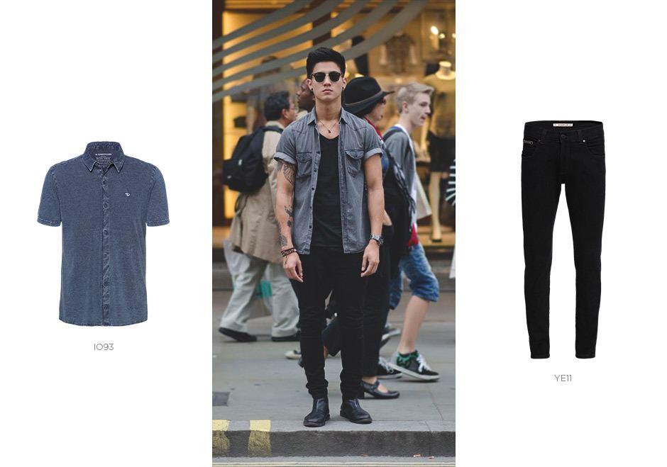 camisa jeans e camiseta jeans
