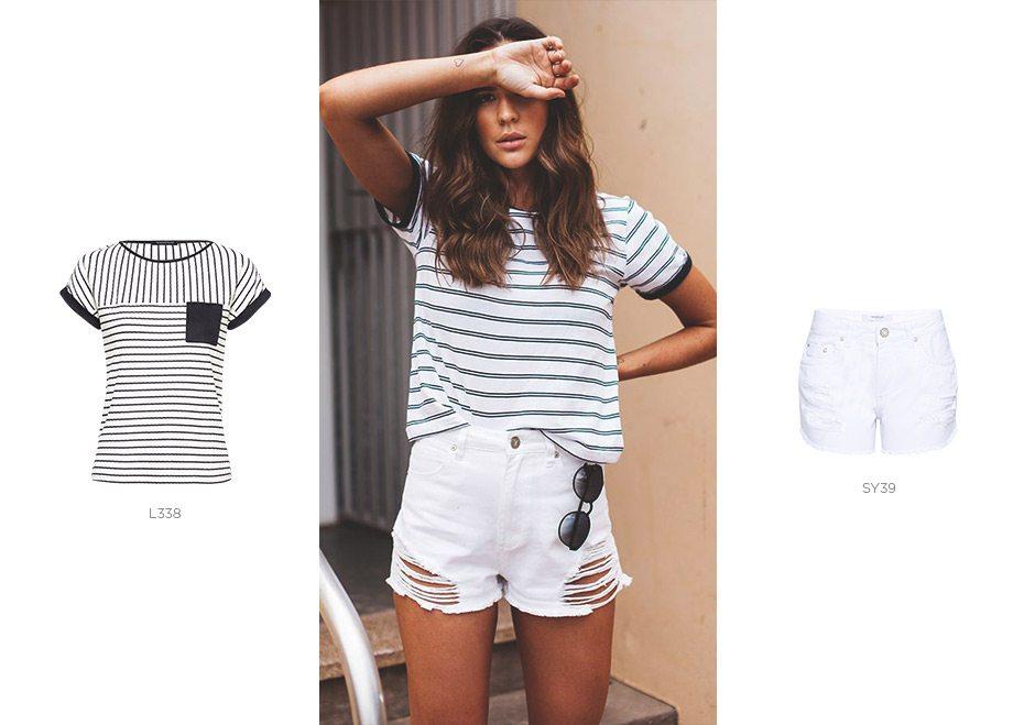 look navy com short jeans branco e camiseta feminina listrada