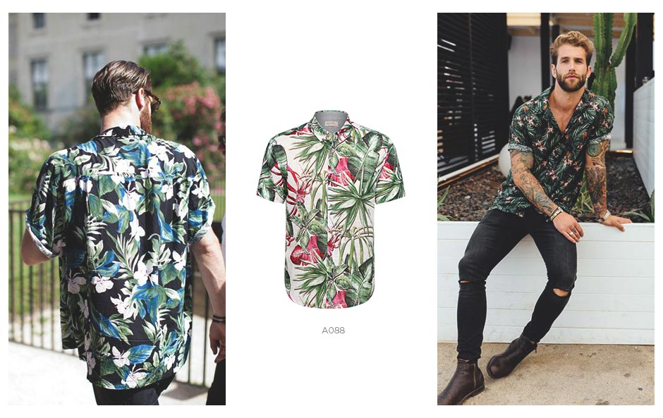 camisa floral masculino