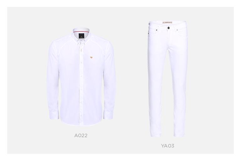 camisa e jeans branco masculino