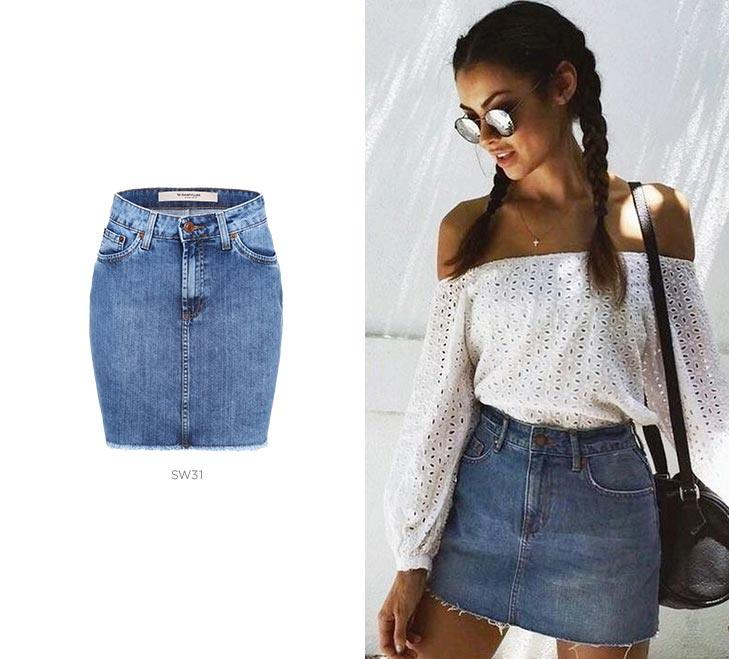 mala carnaval saia jeans damyller