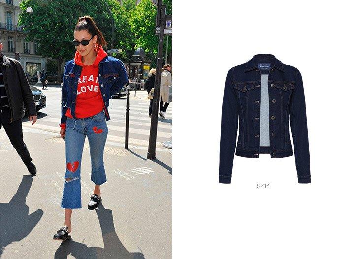 bella hadid jaqueta jeans