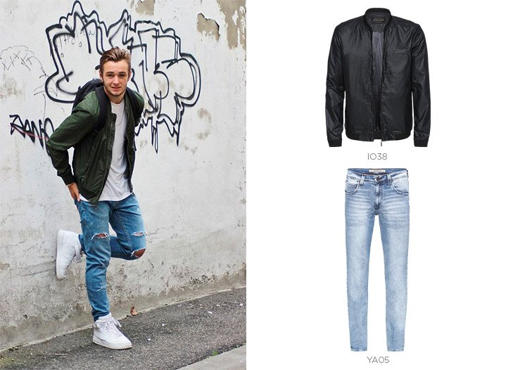 bomber jeans masculino