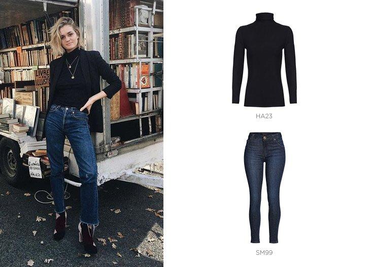 jeans blusa gola alta damyller