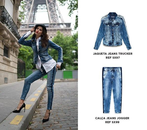 Isabeli Fontana com look all jeans