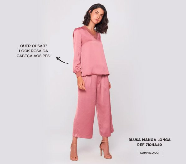 blusa rosa manga longa
