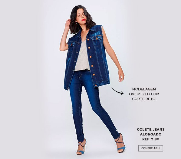 colete jeans over sized