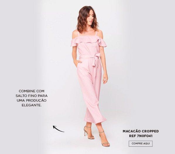 macacão rosa cropped