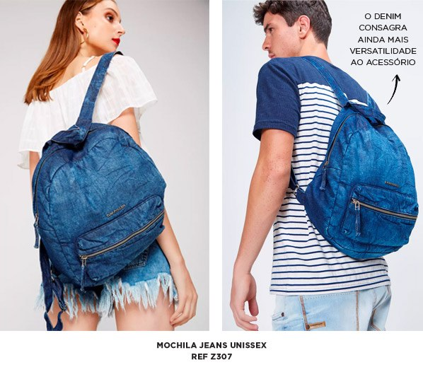 mochila jeans unissex