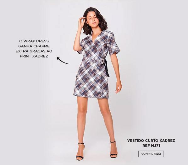 vestido transpassado xadrez