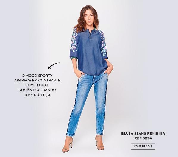 blusa jeans floral