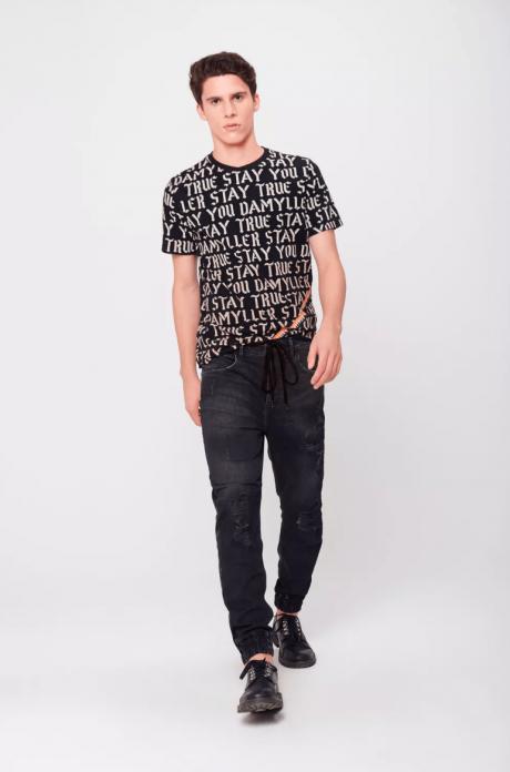 calça jogger masculina em jeans preto