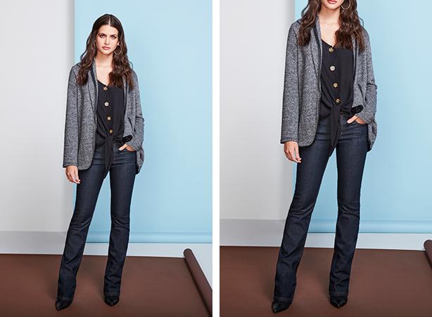 Calça de cintura baixa para mulheres altas e magras