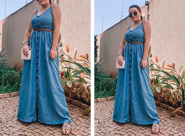 Vestido longo de verão em denim leve