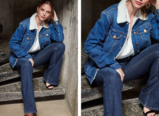 Jaqueta jeans com pelo fake