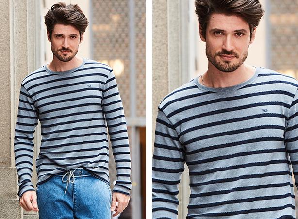 Camiseta listrada com calça jogger masculina