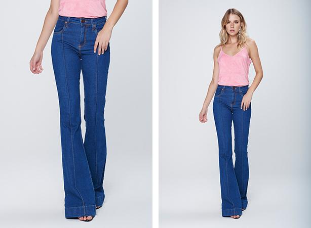 calça flare azul claro médio