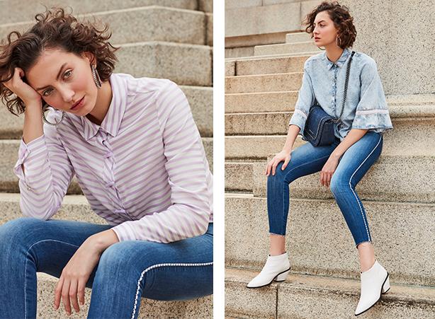 calça jeans com listra lateral navy