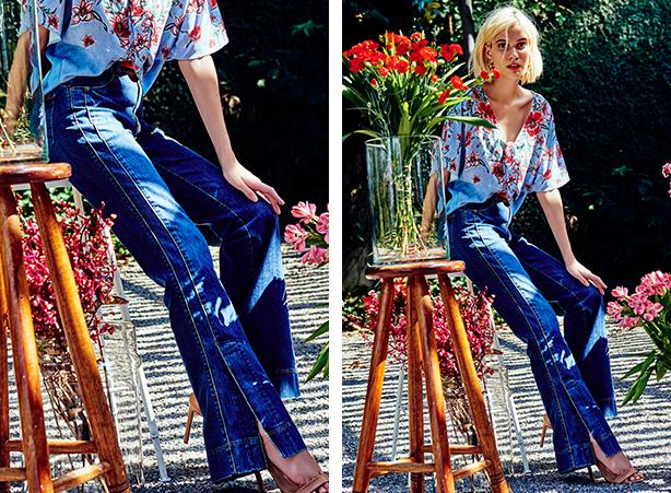 Calça jeans com fenda lateral