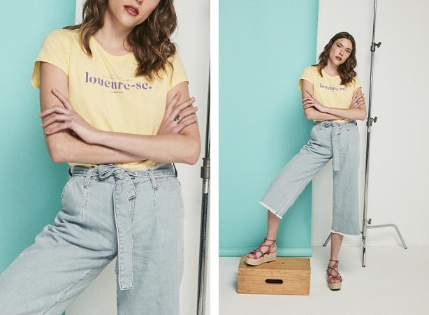 Pantacourt jeans com barra desfiada