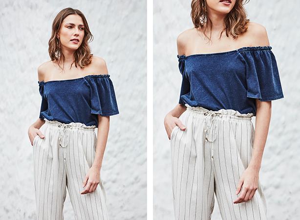 Blusa jeans ombro a ombro