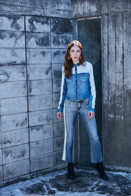 Look total jeans feminino, camisa e calça