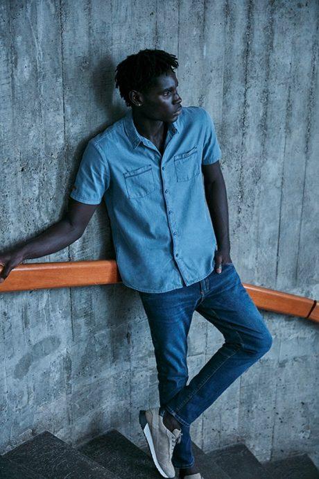 Camisa jeans manga curta e calça jeans - total jeans masculino