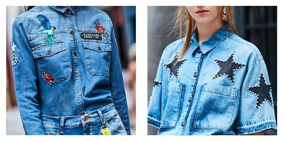 Camisas jeans feminina com aplicações de patches, tachas e pérolas