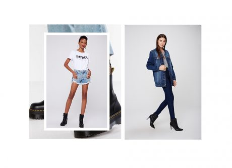 Short jeans e camiseta branca com tipografia, segundo look calça jeans skinny,camiseta básica e jaqueta oversized.