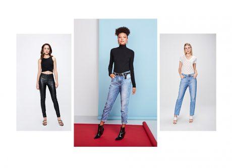 3 looks femininos, um com calça pretacintura alta e top cropped, os outros dois com calças jeans mom clara e camisetas preta e branca.