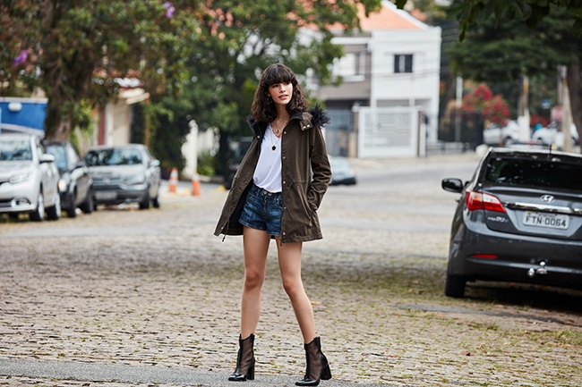 Short jeans parka militar feminina