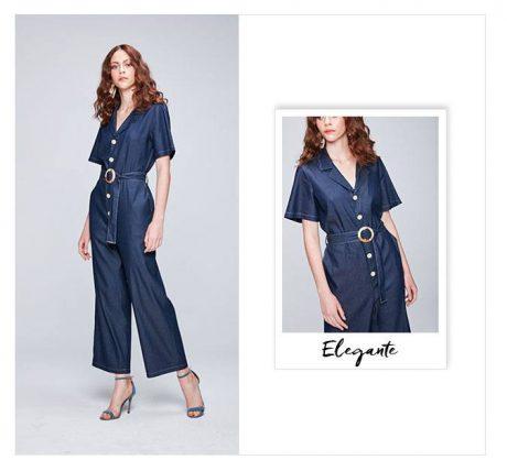Macacão cropped jeans com botões e cinto em jeans.