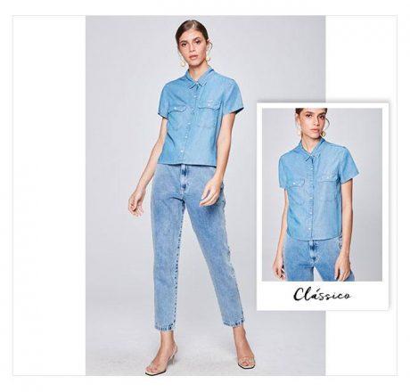 Calça e camisa curta em jeans feminina.