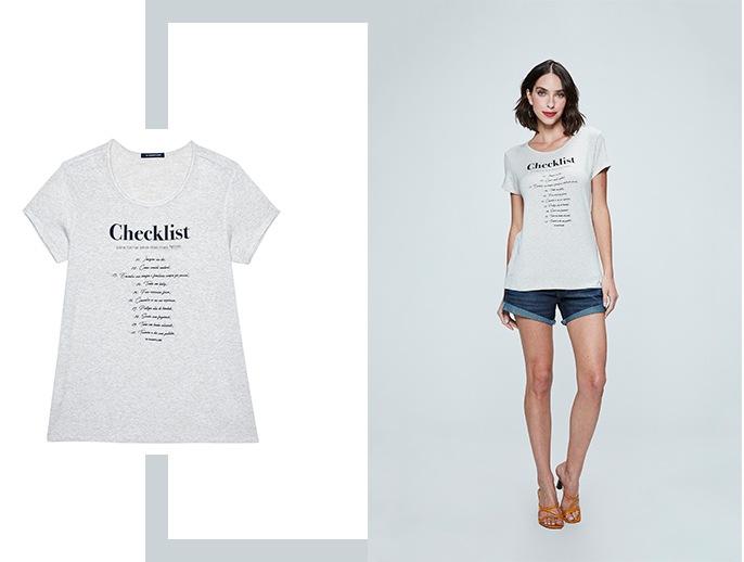 Short jeans com barra dobrada e camiseta de malha