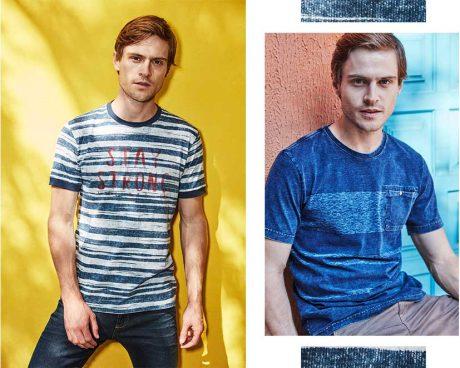 Jeans com camiseta de malha masculina listrada, bermuda masculina e camiseta em malha denim azul com detalhe de bolso na frente.